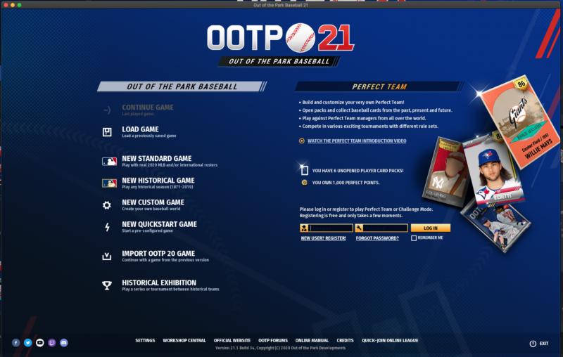 OOTP 21 Start Screen