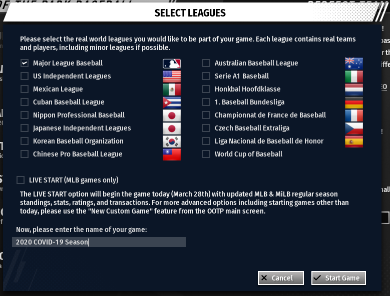 OOTP 21 Select Leagues Screen