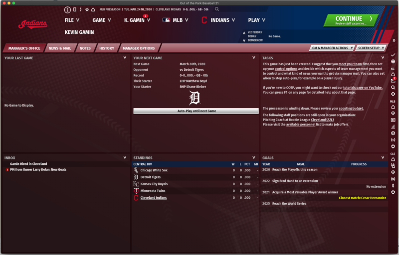 OOTP 21 Team Screen