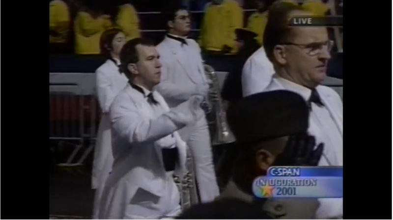 Kevin marching in the 2001 Presidential Inaugural Parade